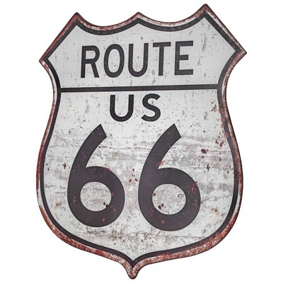 Route 66 Metal Sign Gray/Black - Crystal Art Gallery