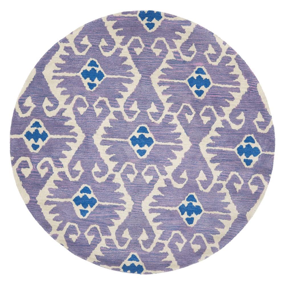 7' Tribal Design Tufted Round Area Rug Lavender/Ivory (Purple/Ivory) - Safavieh