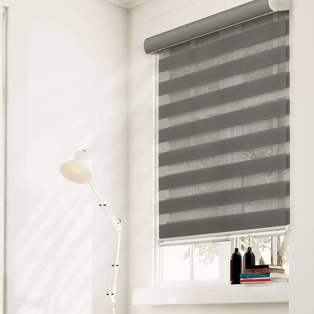"Image of ""30""""x72"""" Free Stop Dual Layer Cordless Zebra Light Filtering Roller Window Shade Gray - Chicology"""