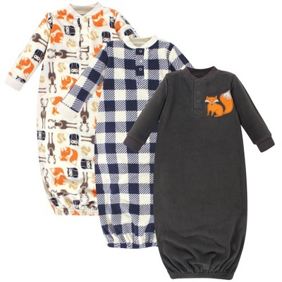 Hudson Baby Infant Boy Fleece Long-Sleeve Gowns 3pk, Forest, 0-6 Months