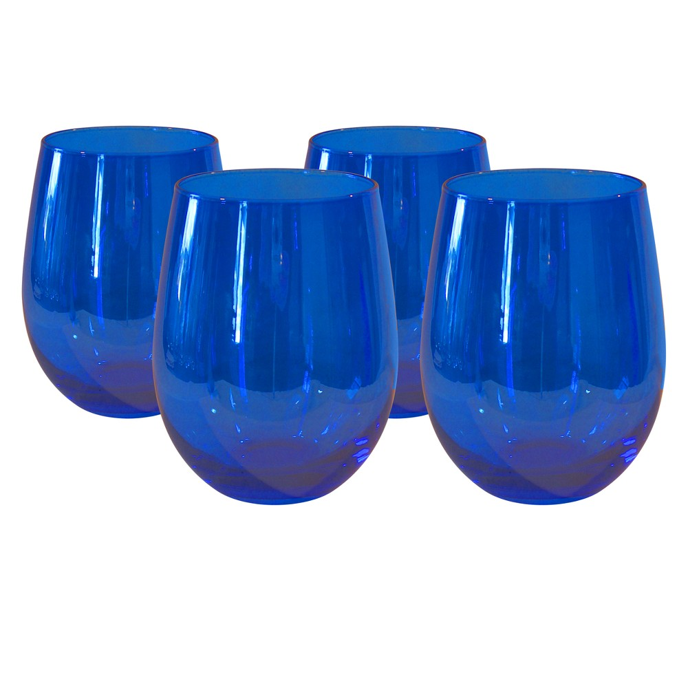 Image of Artland 17oz 4pk Luster Stemless Wine Glasses Blue