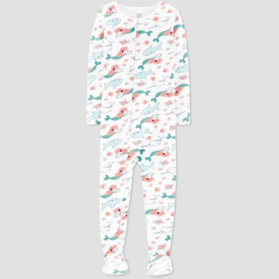 Baby Girls' Sea Creature Printed Footed Sleepers - Just One You® made by carter's White 9M