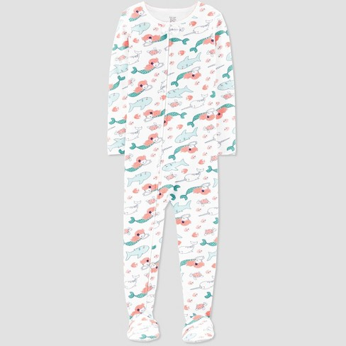 Toddler Girls' Sea Creature Printed Footed Sleepers - Just One You® made by carter's White - image 1 of 1