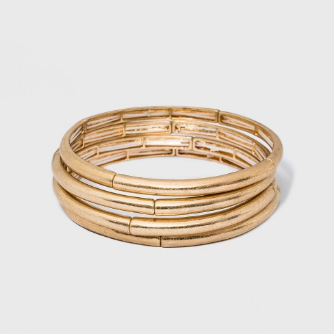 Smooth Bar Stretch Bracelet Set 4ct - Universal Thread™ Gold - image 1 of 1