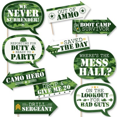 Big Dot of Happiness Funny Camo Hero - Army Military Camouflage Party Photo Booth Props Kit - 10 Piece