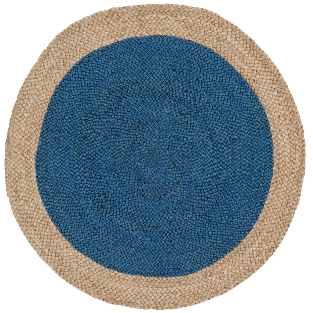 Royal Blue/Natural Solid Woven Round Accent Rug 3' - Safavieh, Royal Bluennatural