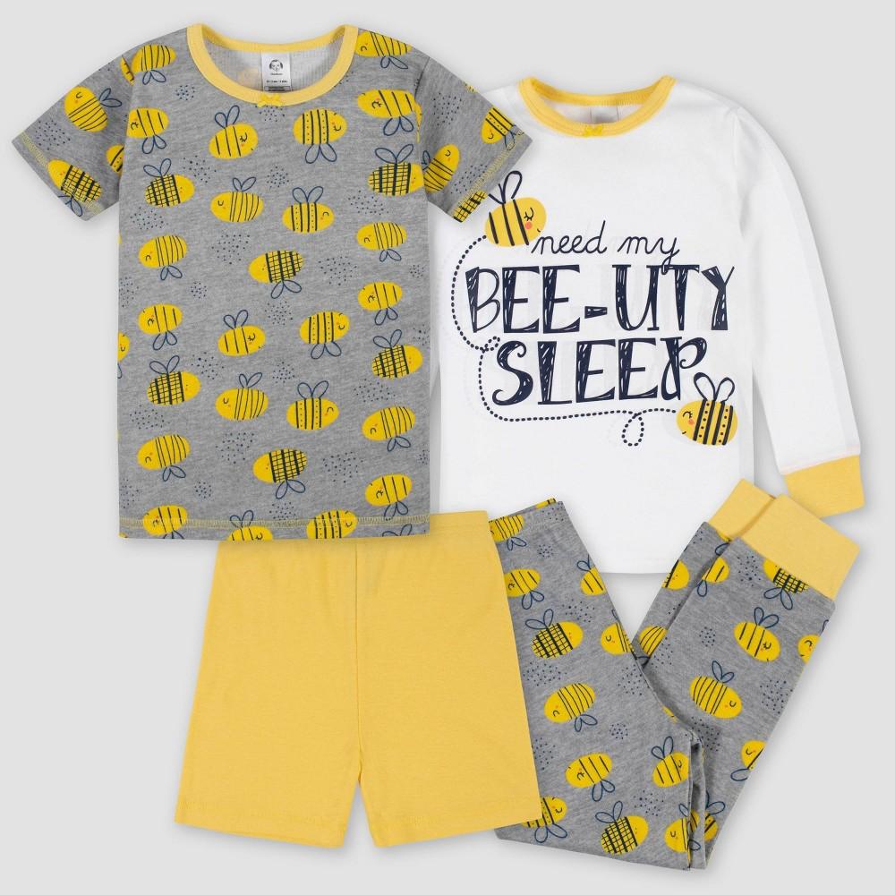 Gerber Toddler Girls 39 4pc Pajama Set Yellow 18m
