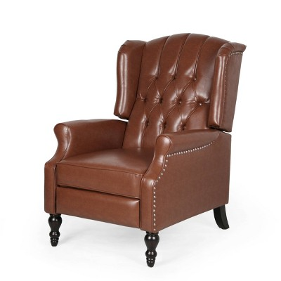 Walter Contemporary Tufted Recliner Cognac Brown/Dark Brown - Christopher Knight Home