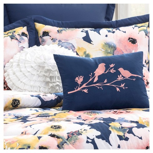 Blue Floral Watercolor Comforter Set (Full/Queen) 7pc - Lush Decor® - image 1 of 2