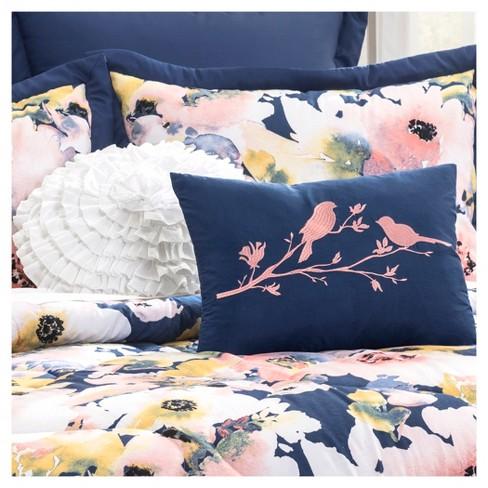 Blue Fl Watercolor Comforter Set Full Queen 7pc Lush Decor