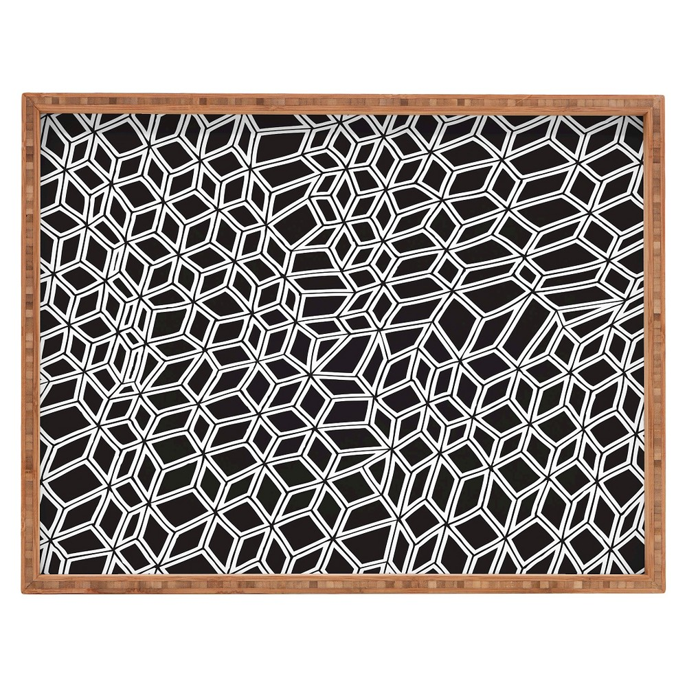 Gneural Compression Rectangle Tray - Black and White - Deny Designs