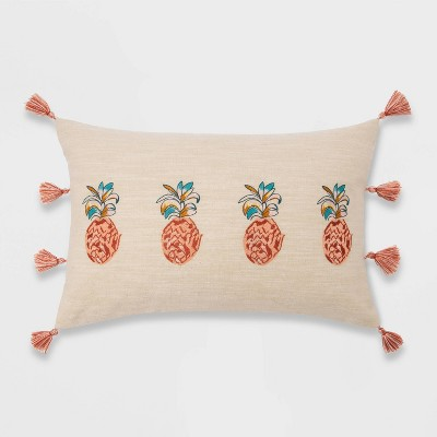 Embroidered Pineapple Lumbar Throw Pillow - Opalhouse™