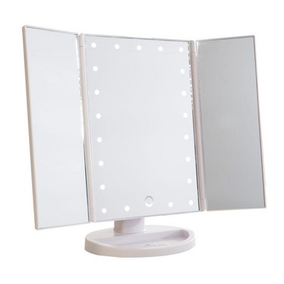 Impressions Vanity Touch 3.0 Trifold Dimmable LED Makeup Mirror - White