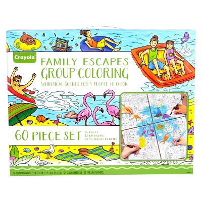 Crayola Family Escapes Coloring Kit, Adult Coloring, Gift, 60pc