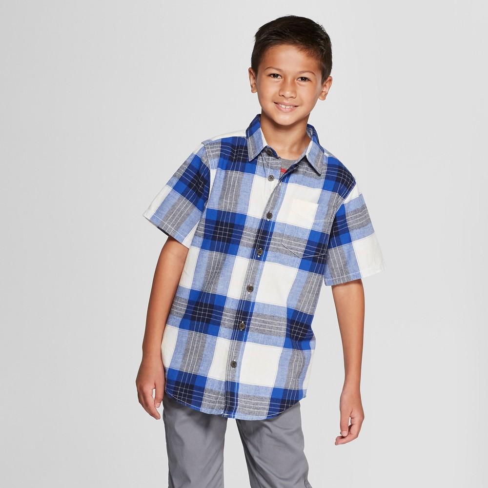 Boys' Short Sleeve Button-Down Shirt - Cat & Jack Navy XL, Blue