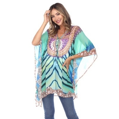 Short Caftan with Tie-up Neckline - One Size Fits Most - White Mark