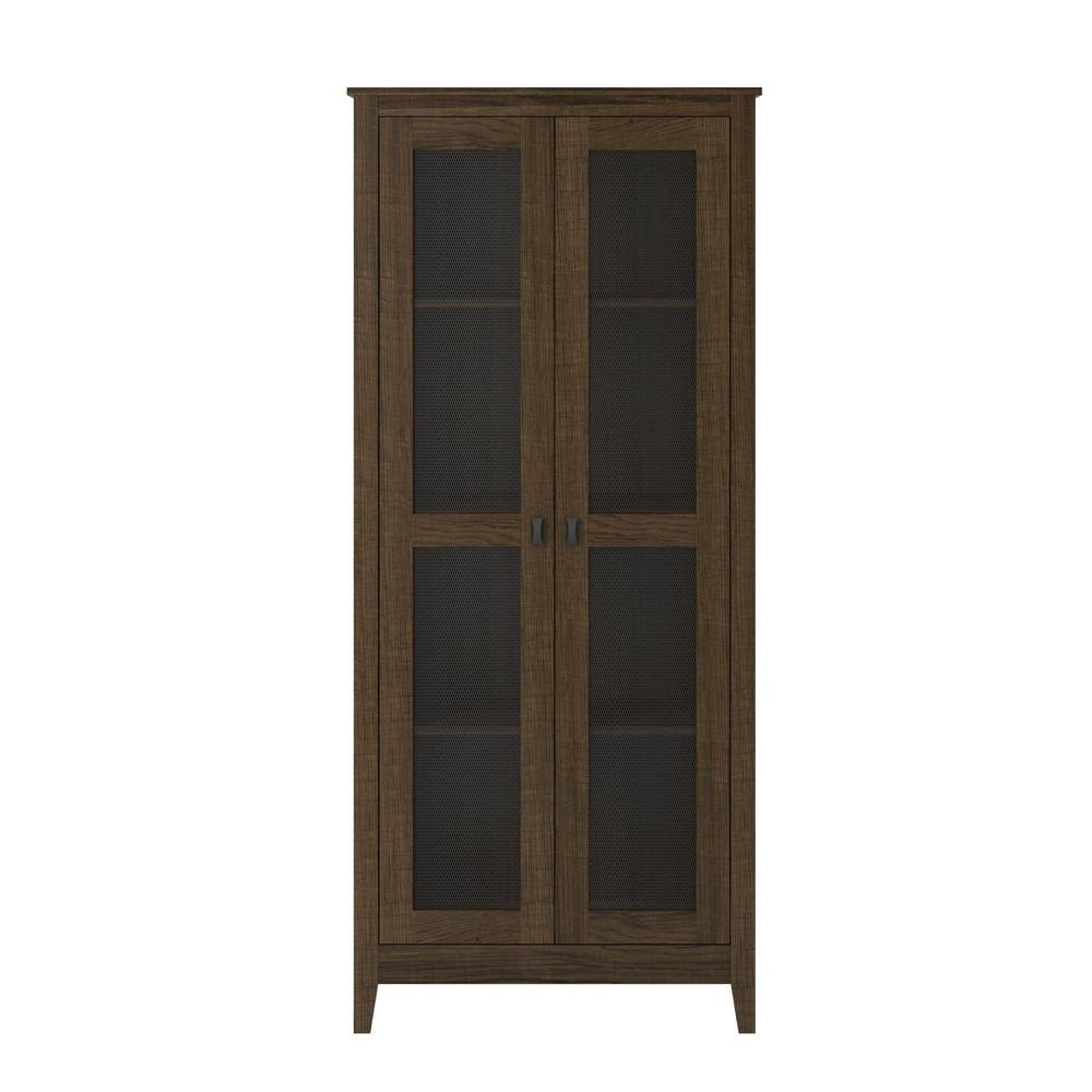 31.5 Coulwood Wide Storage Cabinet with Mesh Doors Dark Oak - Room & Joy