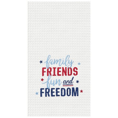 C&F Home Happy 4th Of July Waffle Weave Embroidered Cotton Kitchen Towel