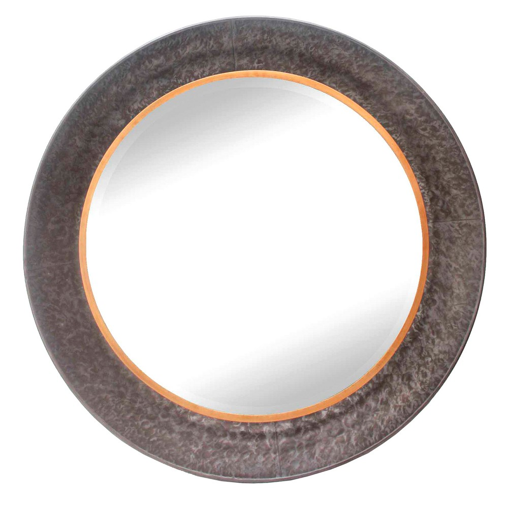 "Image of ""34.6""""x34.6"""" Round Decorative Wall Mirror Iron Gray - Home Source"""
