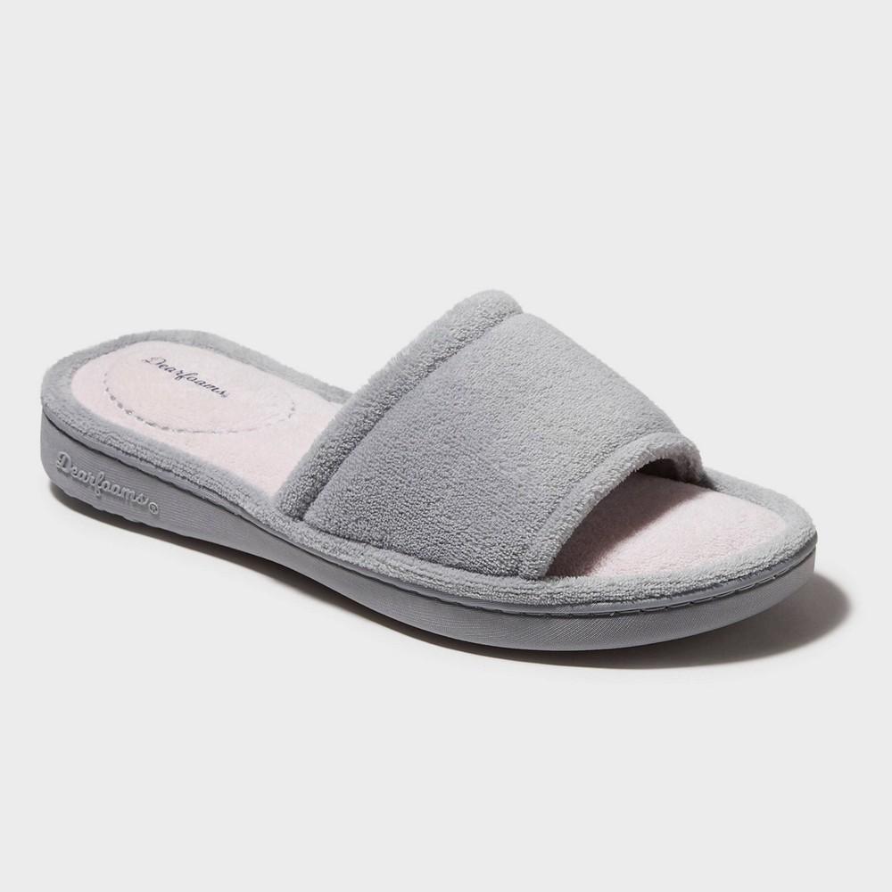 Women s Dearfoams Terry One Band Slide Slippers Gray