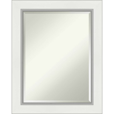 "23"" x 29"" Eva White Silver Framed Bathroom Vanity Wall Mirror - Amanti Art"
