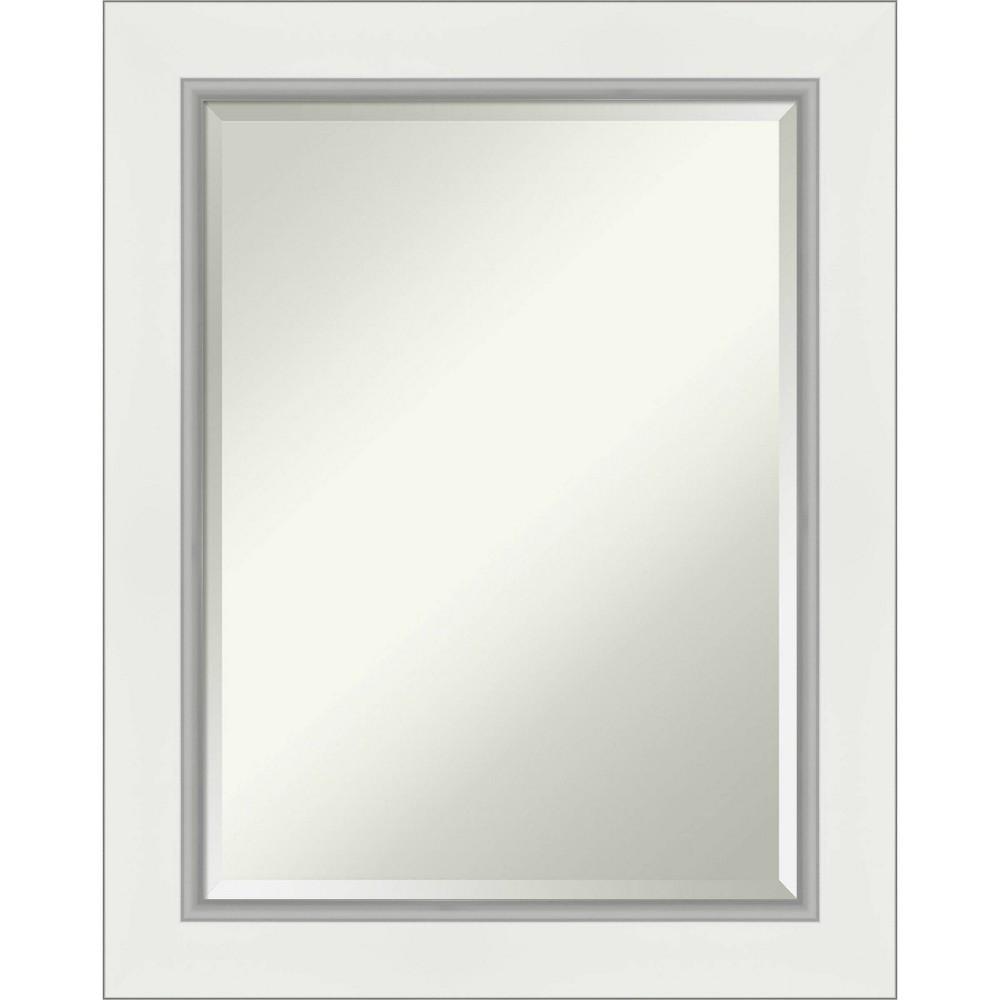 "Image of ""23"""" x 29"""" Eva Framed Bathroom Vanity Wall Mirror White/Silver - Amanti Art"""