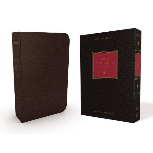 NKJV, Minister's Bible, Imitation Leather, Brown, Red Letter Edition - by  Thomas Nelson (Leather_bound) - image 1 of 1