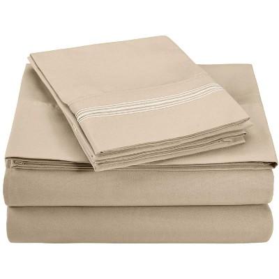 5-Line Embroidered Microfiber Wrinkle-Resistant Deep Pocket Sheet Set - Blue Nile Mills