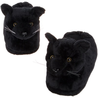 FUNZIEZ! - Women's Black Cat Animal Slippers