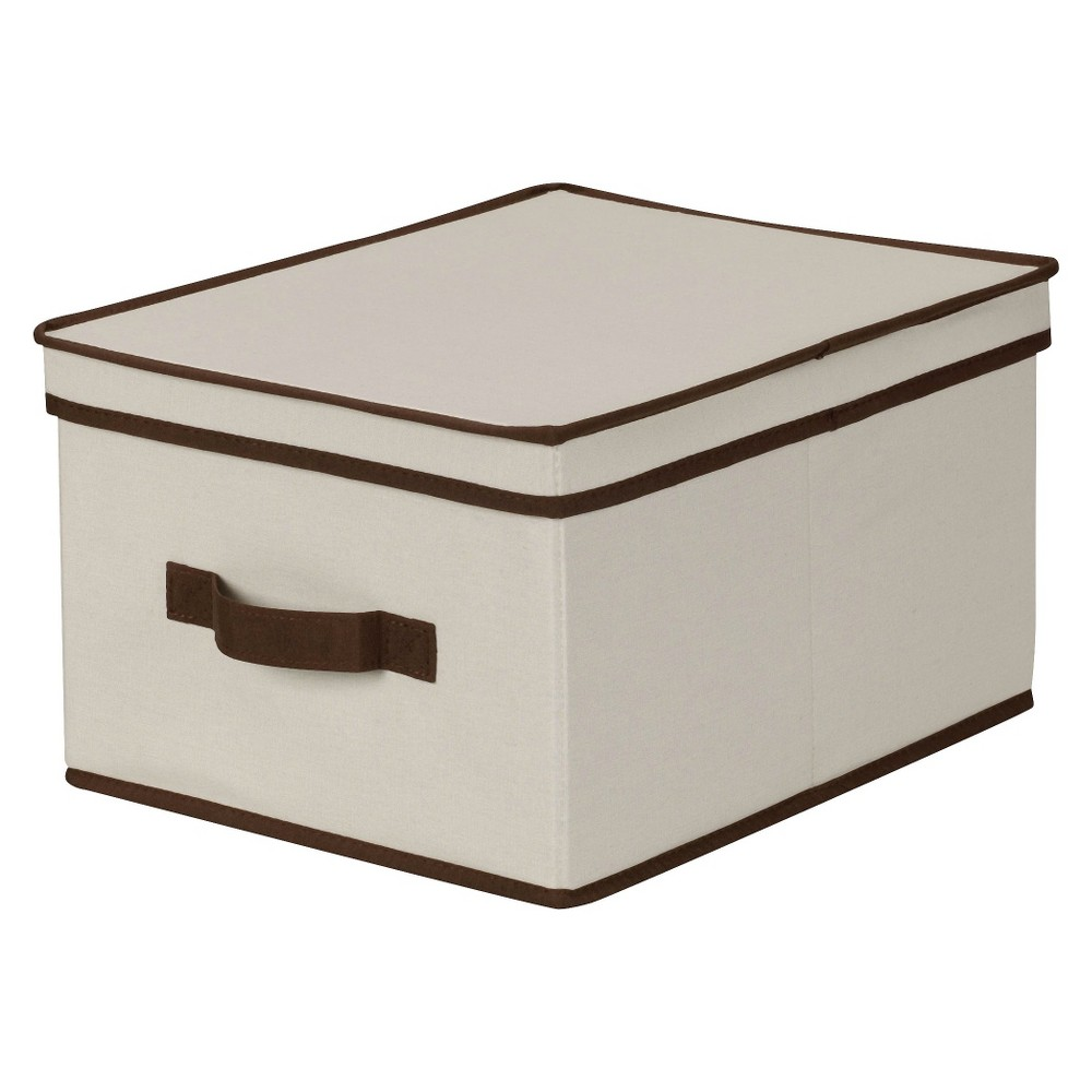 Household Essentials Large Canvas Cube Storage Box - Natural with Coffee Trim With the Canvas Large Storage Box from Household Essentials you can stash away your clutter, linens and more. The smooth, durable canvas works with almost any décor and keeps your things safe and neat. Whether housing seasonal clothing or something else altogether, this convenient storage box will quickly be one of your favorite pieces.