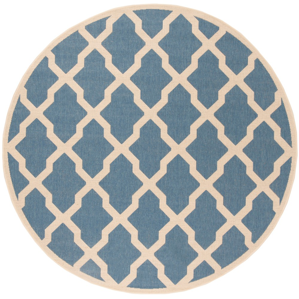 67 Geometric Loomed Round Area Rug Blue/Cream - Safavieh Promos