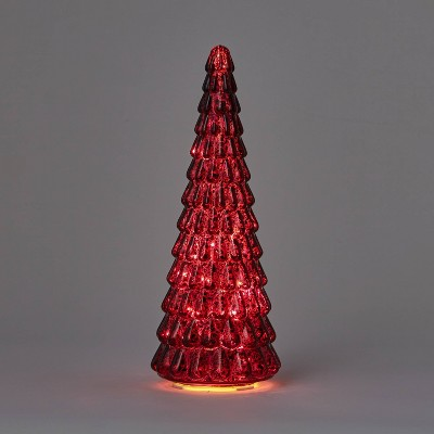 15in Mercury Glass Christmas Tree Decorative Figurine Dark Red - Wondershop™