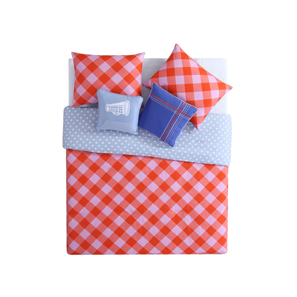 Pink & Orange Checker Comforter Set Comforter Set (Twin XL) 4pc - Vcny