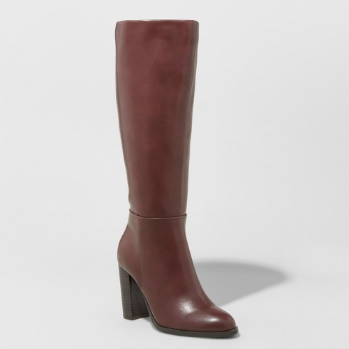Women's Lenna Stovepipe Boots - A New Day Burgundy (Red) 8