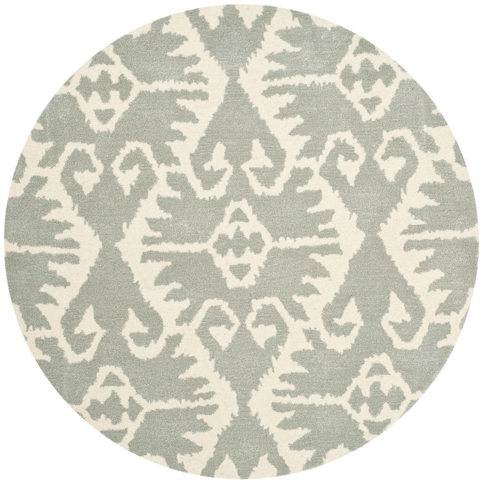 7' Tribal Design Tufted Round Area Rug Gray/Ivory - Safavieh