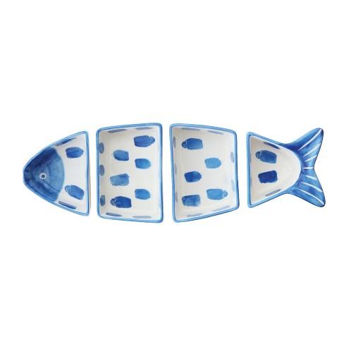 4pc Stoneware Fish Shaped Serving Bowl Set Blue/White - 3R Studios - image 1 of 1