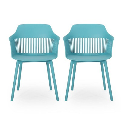 Dahlia 2pk Resin Modern Dining Chair - Teal - Christopher Knight Home