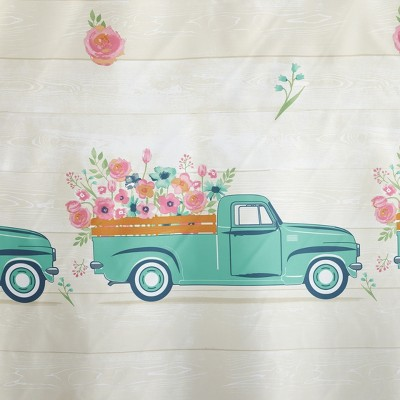Lakeside Spring Truck Shower Curtain With Vintage Truck Floral Print : Target