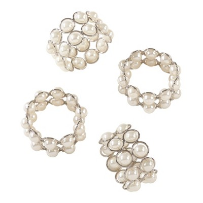 Ivory Faux Pearl Beaded Design Wedding Special Napkin Ring Set of 4 - Saro Lifestyle