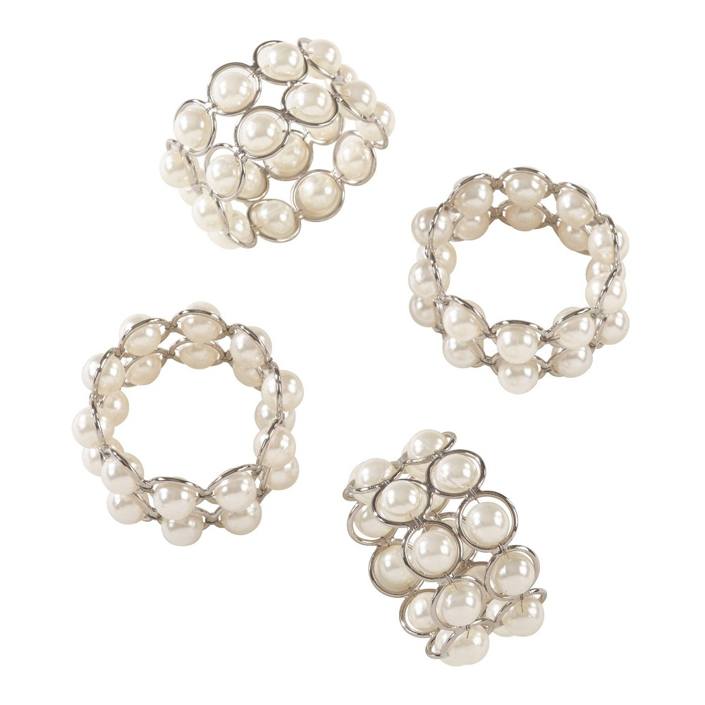 Image of Ivory Faux Pearl Beaded Design Wedding Special Napkin Ring Set of 4 - Saro Lifestyle, White