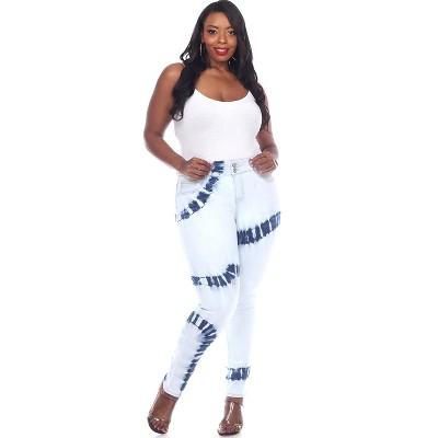 Women's Plus Size Tie Dye Light Blue Denim - White Mark