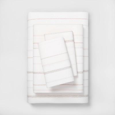 King Organic Sheet Set Stripe Blush / Neutral - Hearth & Hand™ with Magnolia