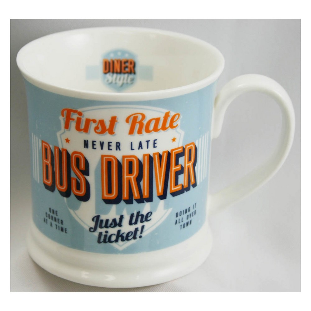 Image of Bus Driver Diner Style Mug - History & Heraldry, Blue