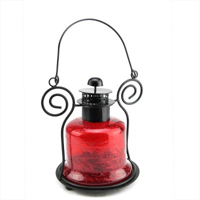 "Northlight 9.25"" Decorative Distressed Red Bell Shaped Glass Tea Light Candle Holder Lantern"