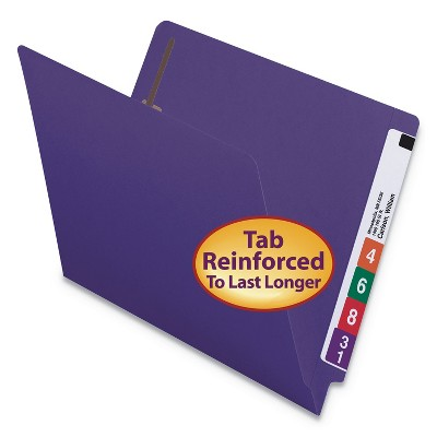 Smead HW Colored End Tab Folders w/Two Fasteners Strt Tab Letter Size Purple 25440
