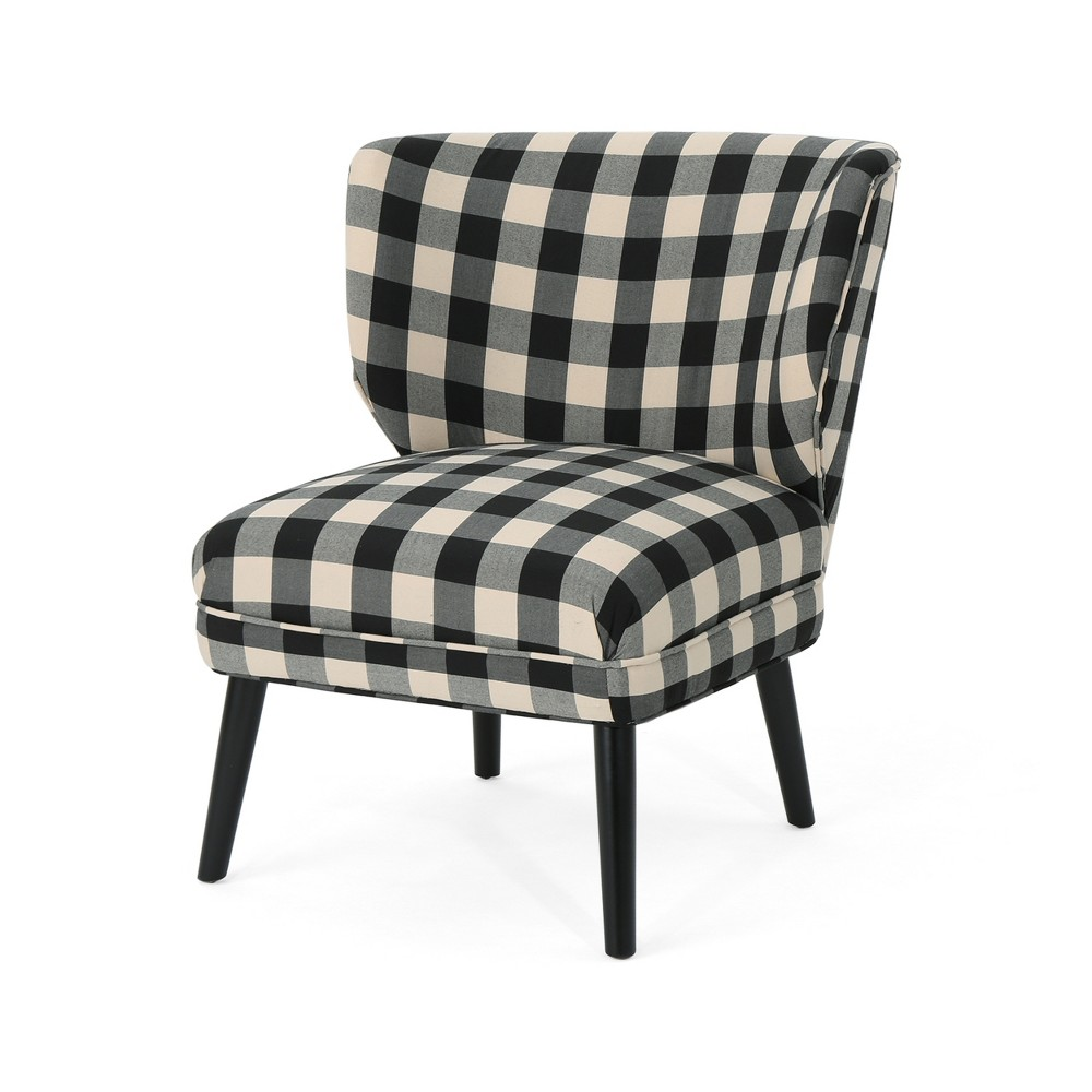 Laurier Modern Farmhouse Accent Chair Black Checkerboard - Christopher Knight Home