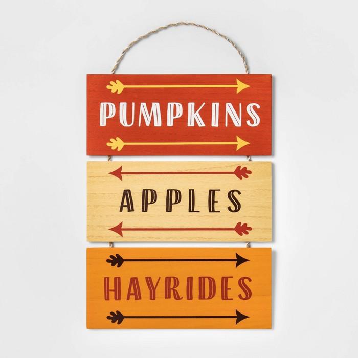 Pumpkins, Apples, Hayrides Hanging Wood Sign - Spritz™ - image 1 of 1