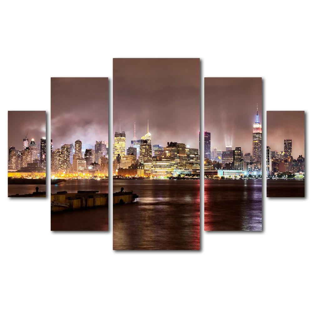 'Midtown Manhatten Over Hudson River' by David Ayash Ready to Hang Multi Panel Art Set, Multi-Colored