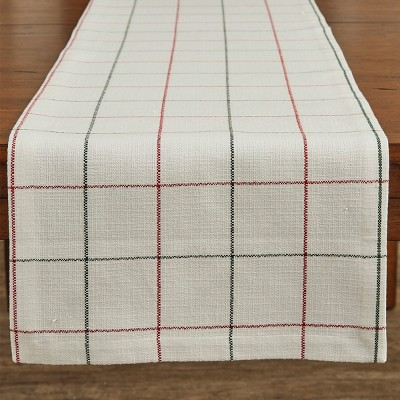 "Split P Christmas Windowpane Table Runner - 72""L - White"