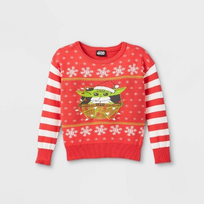 Toddler Girls' Star Wars Baby Yoda Ugly Christmas Pullover - Red